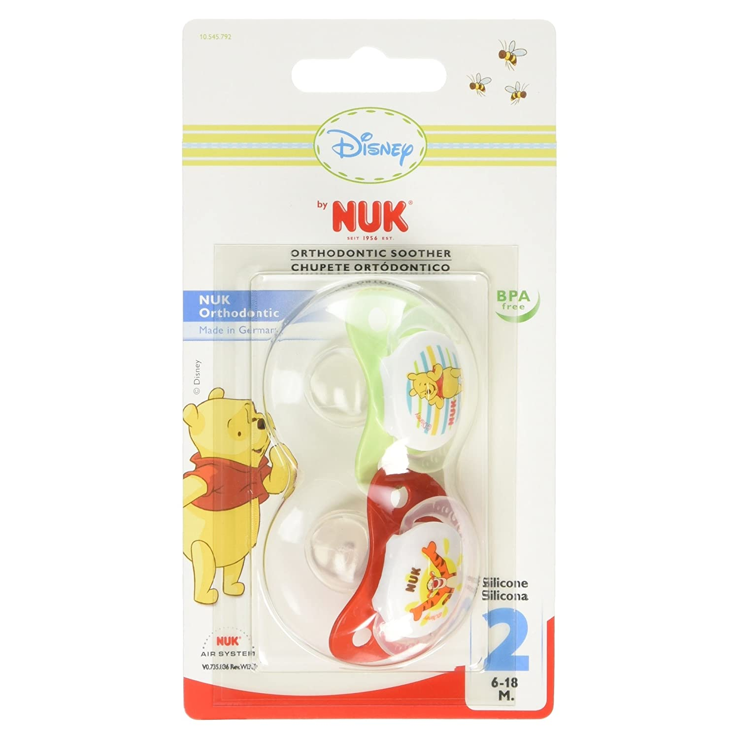 Amazon.com: NUK Classic Disney Winnie the Pooh Silicone Soothers ...