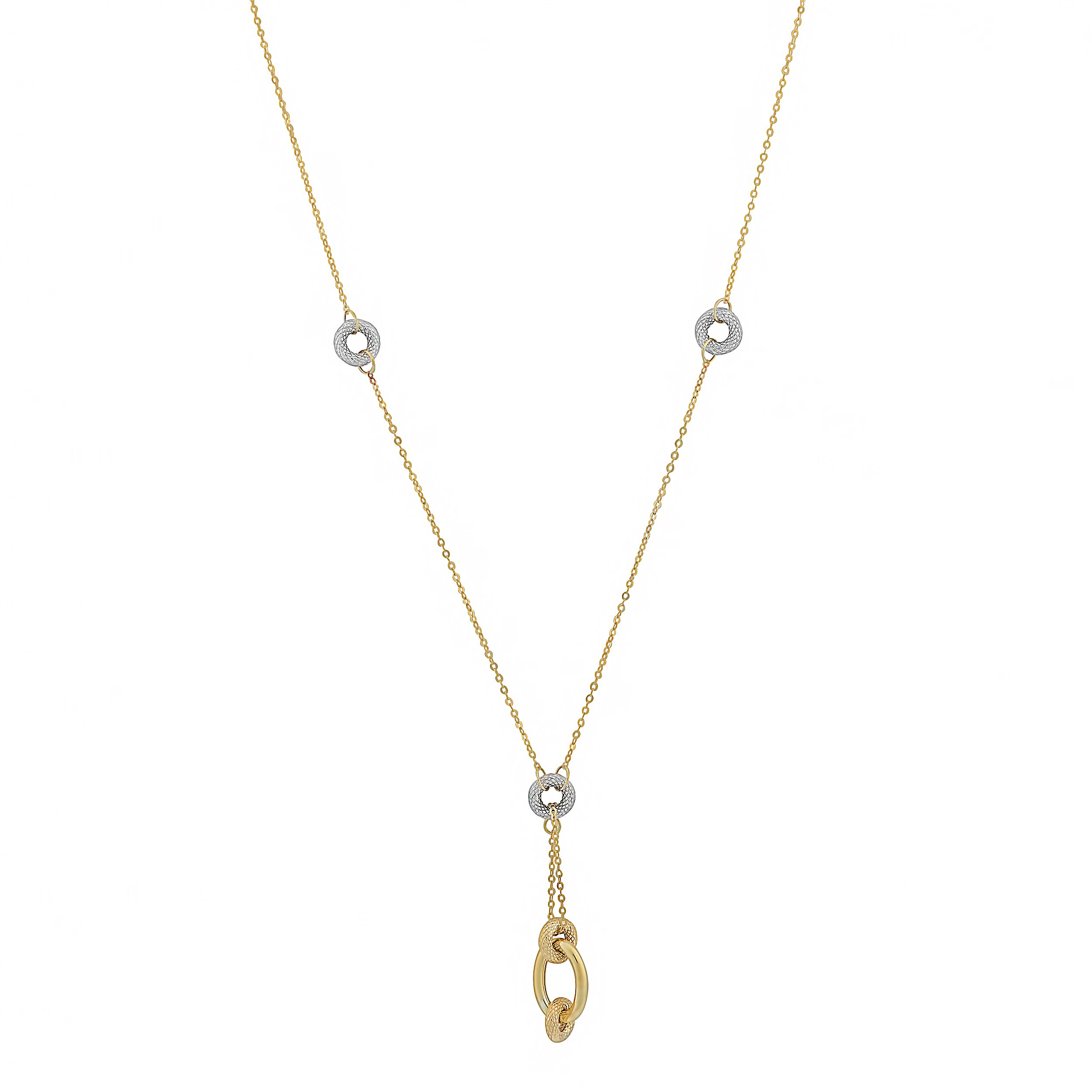 10k Two-Tone Gold Oval And Doughnuts Lariat Necklace (18 inch)