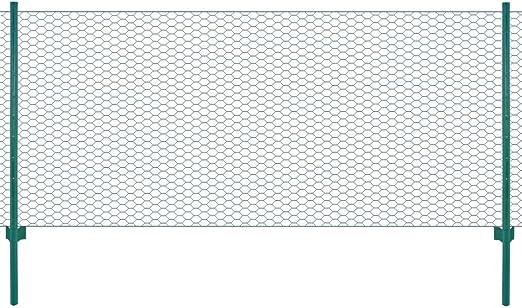 vidaXL Valla Jard/ín Malla Alambre Rollo 11 Postes Acero Vallado Met/álico Cercado Metal Protecci/ón Separador Corral Animales Gallinas Verde 25x1,5 m