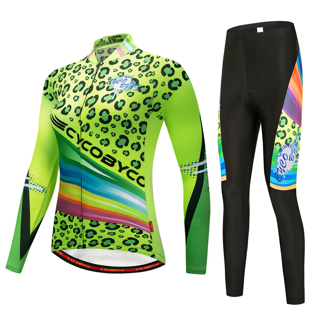 CYCOBYCO Women Cycling Jersey Long Sleeve and Long Pant Set Reflective Fluorescence