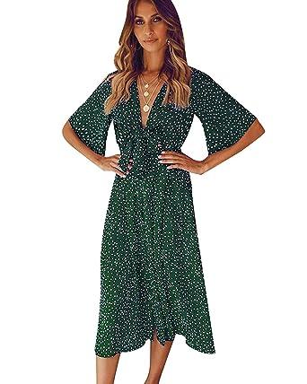 1c57b45a15 SOLERSUN Women's V Neck Polka Dot Loose Swing Casual Summer Tie Front Midi  Dress Army Green