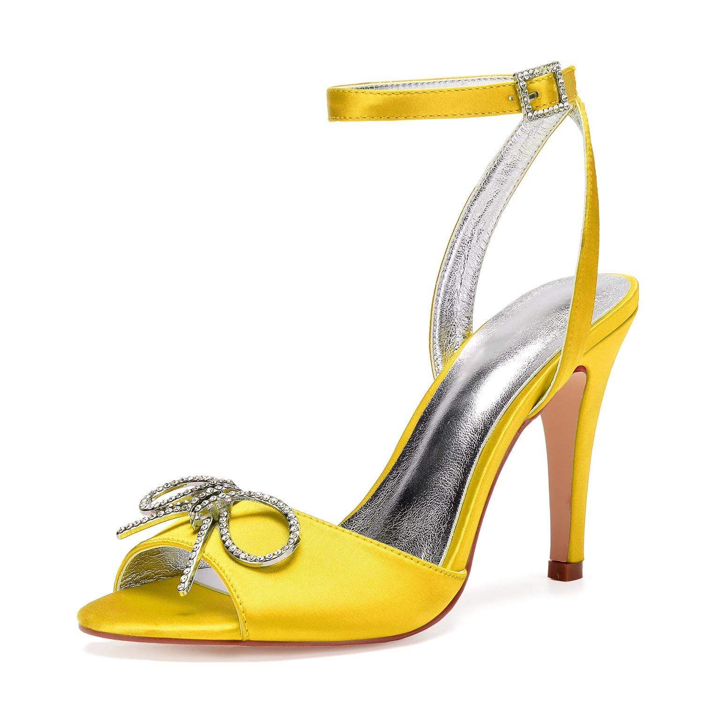 jaune LHWAN Chaussures de mariée dame à bout ouvert ouvert ouvert pompes satin croisé sangle cheville talons hauts cristal bow broche partie prom 7a1