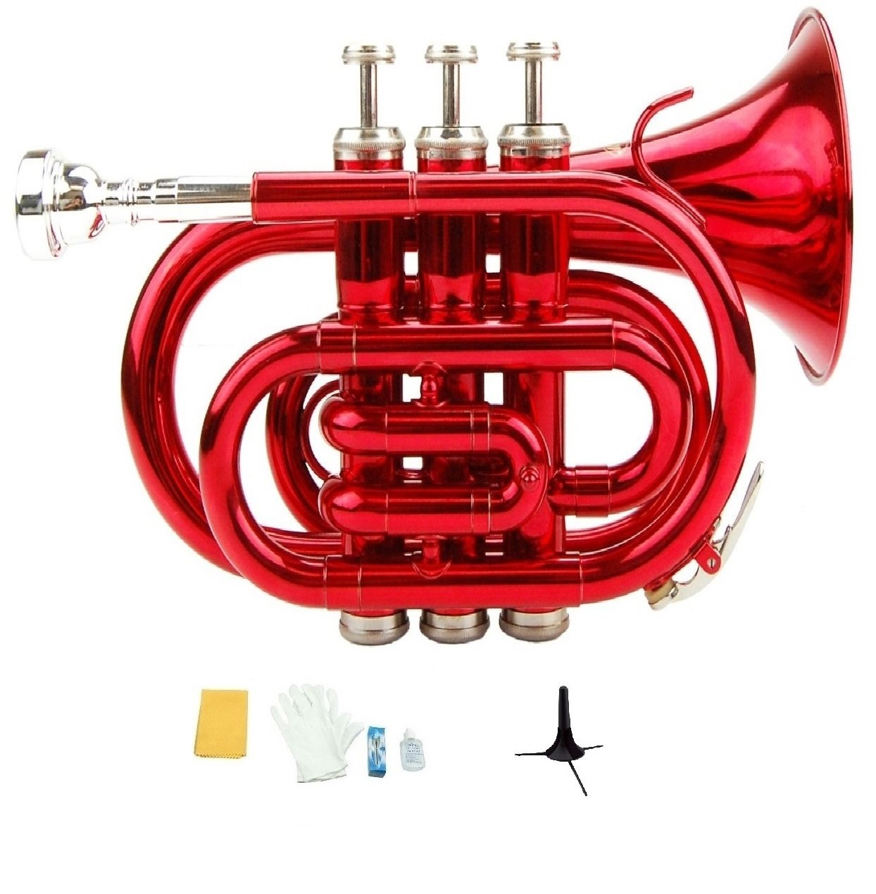 Merano B Flat Red Pocket Trumpet with Case+Mouth Piece;Valve oil;A Pair Of Gloves;Soft Cleaning Cloth+Stand WD480RD-S