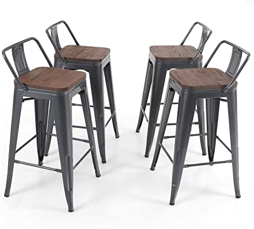 Sophia William Bar Stool 26″ Set of 4 Counter Hight Metal Dining Bar Chairs Wood Seat Low Back Industrial Stackable Patio Stool