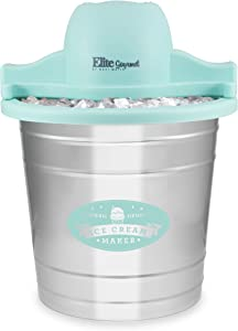 Maxi-Matic EIM-308L 4Qt. Old Fashioned Galvanized Metal Bucket Electric Ice Cream Maker, Teal