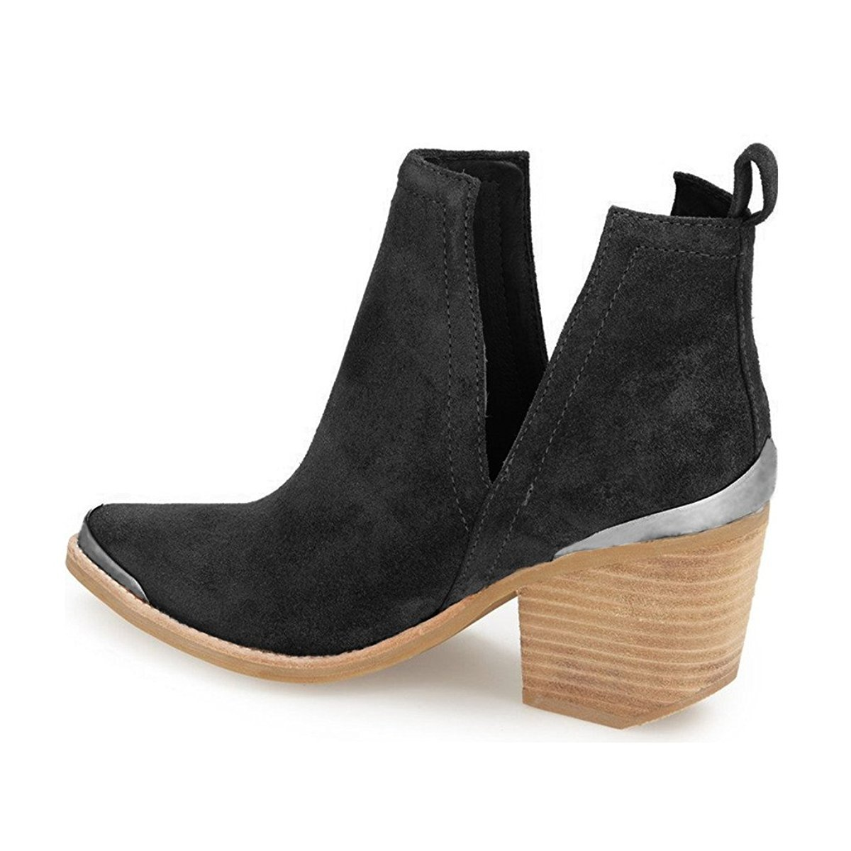 6284bb9b5fde ... YDN Women Ankle Booties Low Heel Faux Faux Faux Suede Stacked Boots Cut  Out Shoes with ...