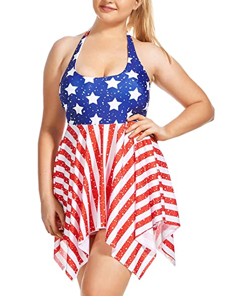 ZDUND Women\'s Plus-Size Tankini Set With Boyshort Two Piece USA American  Flag Bathing Suit Swimsuit