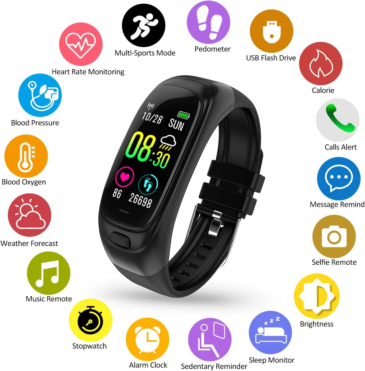 Fitness Tracker, 32G Flash Disk Fitness Watch with Heart Rate Monitor Waterproof IP68 Color Screen Smartwatch, Stopwatch, Step Counter, Calorie Counter Sleep Monitor Activity Tracker for Men Women Kid