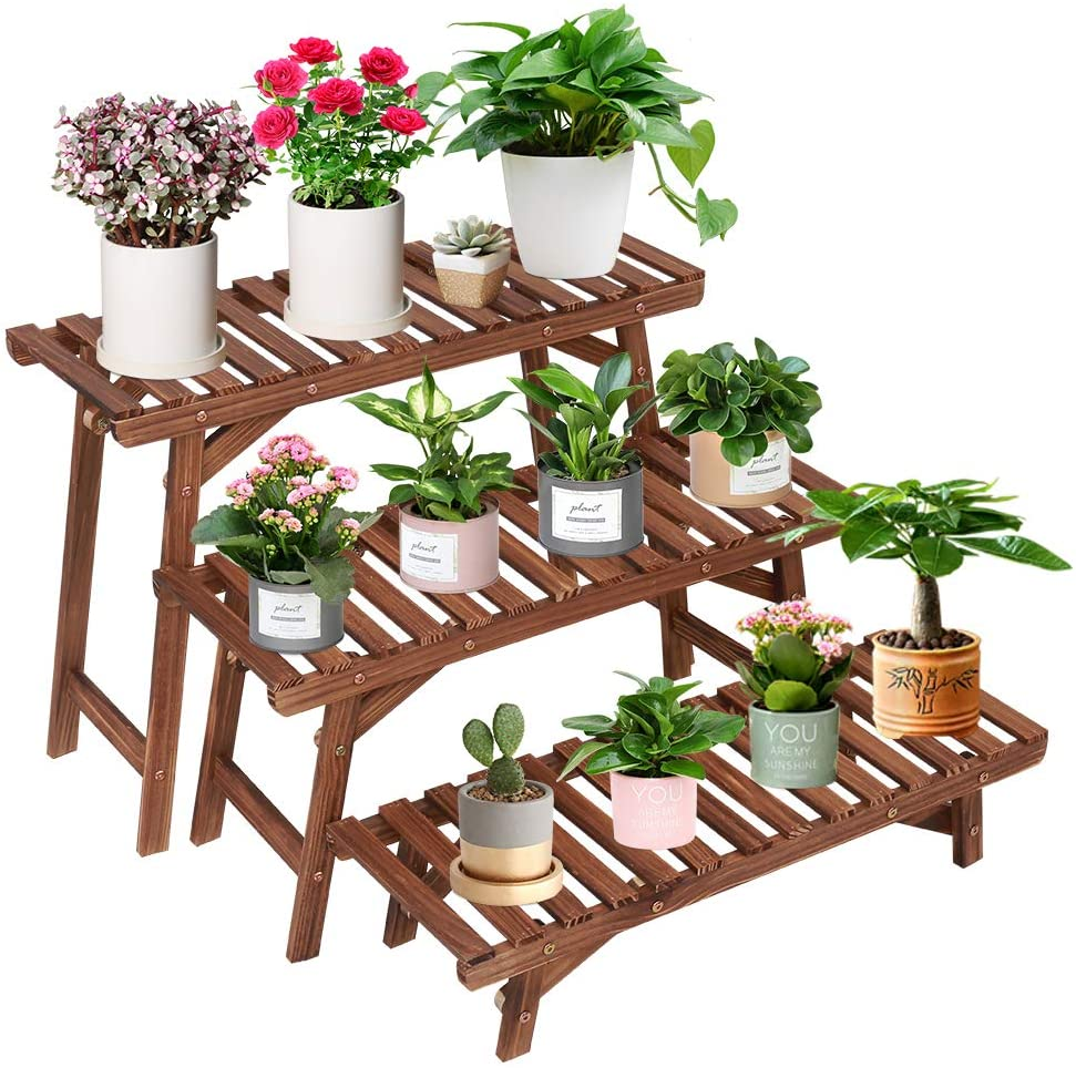 Amazon Com Coogou Wood Plant Stand Indoor Outdoor 3 Tiered Corner Plant Shelf For Large Plants Rack Ladder Step Flower Pot Stand Holder For Patio Garden Balcony Yard 3 Pcs Set Tall Small