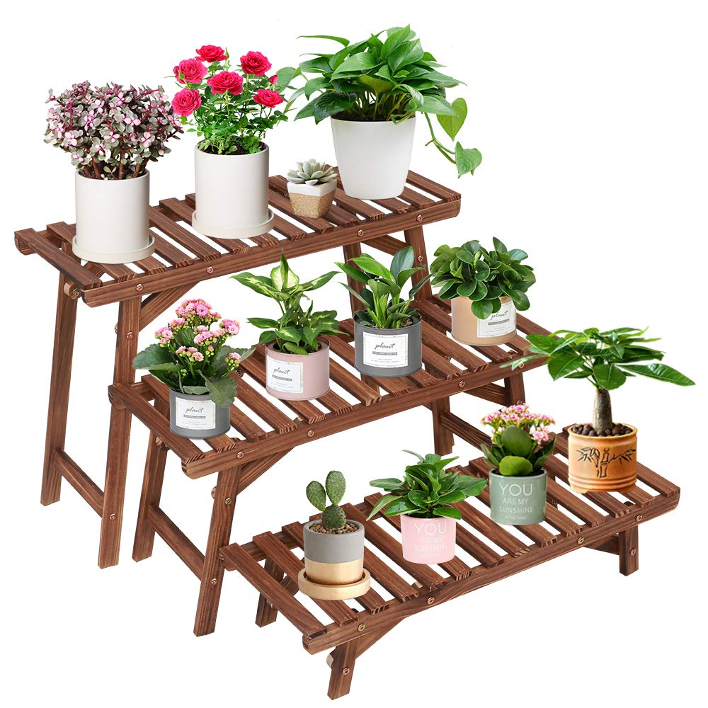 Wood Plant Stand Indoor Outdoor 3 Tiered Corner Plant Shelf Rack Ladder Step Flower Pot Stand Holder Display Rack for Patio Garden Balcony Yard (3 Pcs/Set,27.6 inch,Tall,Small,Heavy Duty) by ISINO