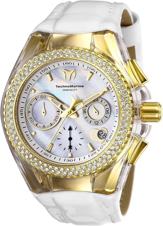 Technomarine Women s Cruise Valentine Stainless Steel Quartz Watch with Leather Strap, White, 26 Model TM-117046