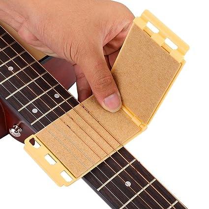 Guitarra Cuerdas Diapasón Limpiador Mantenimiento Herramienta para Guitarra Eléctrica Acústica(Amarillo)