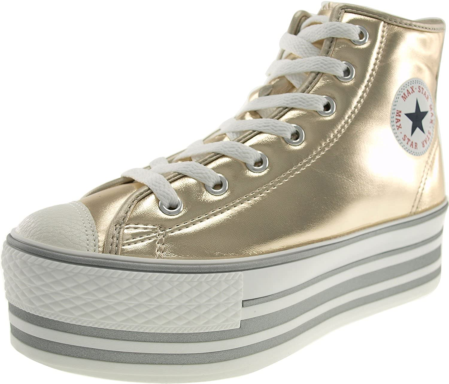 ac0a4216c667 Amazon.com | Maxstar Women's C50 7 Holes Zipper Platform PU High Top  Sneakers | Fashion Sneakers