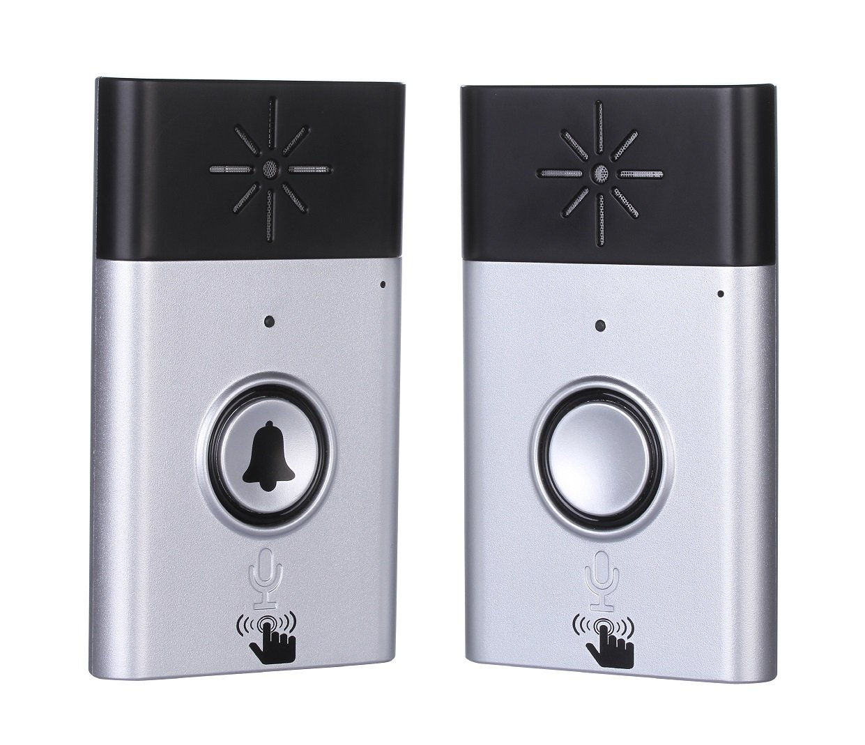 Wireless Intercom Doorbell and Wireless Chime Voice Doorbell and Two-Way Portable Walkie-talkie Operating at Over 600 feet Include 1 Receiver and 1 Push Button for Home and Offfice Silver Napok