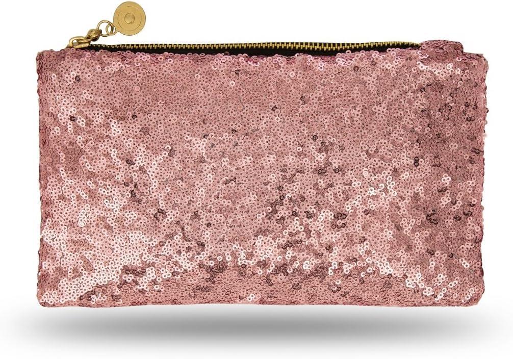 Lady Donovan Clutch – Elegante bolso de noche para mujer y niña – Cartera con cremallera – Ideal para la fiesta o boda – purpurina