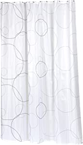 Carnation Home Fashions 100-Percent Polyester Fabric Print 70 by 84-Inch Shower Curtain, X-Long, Ava, Black/White