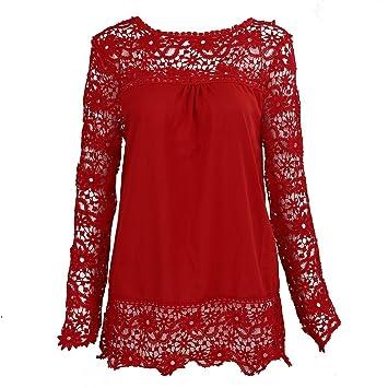 SODIAL(R) Camisas de manga larga de ganchillo hueco flor chiffon encaje rojo de