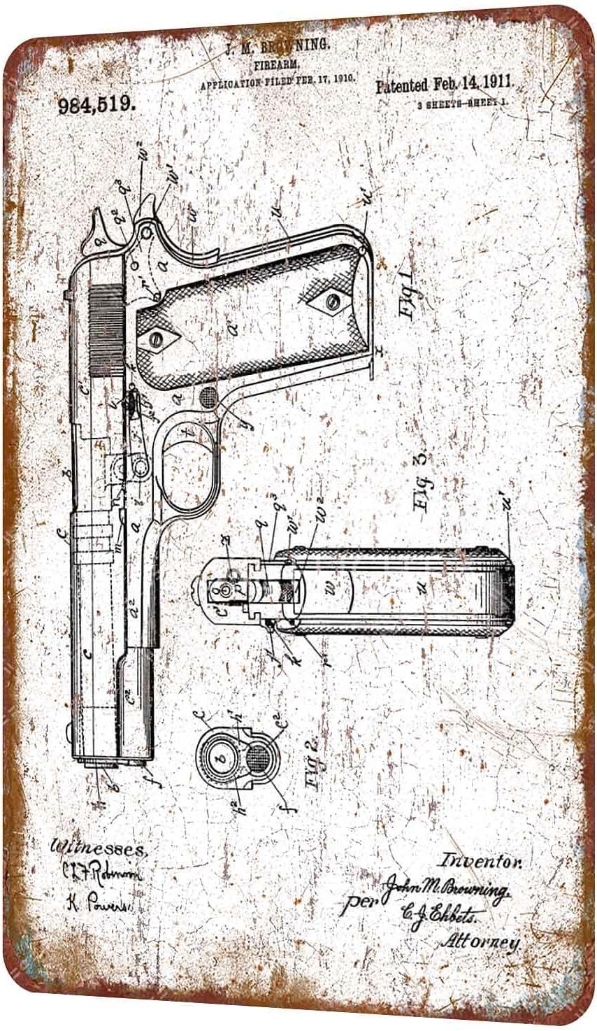 1911 Colt M1911 Patent John Browning Vintage Estilo Shabby Chic Cartel de Metal decoración de Pared 8 x 12 Pulgadas