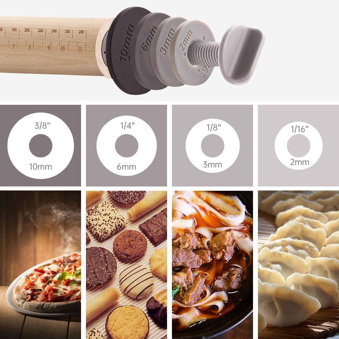 colour) Beech Wood Rolling Pin for Baking Pizza Pastries Wood Rolling Pin Cookies Adjustable Rolling Pin with Removable Thickness Rings