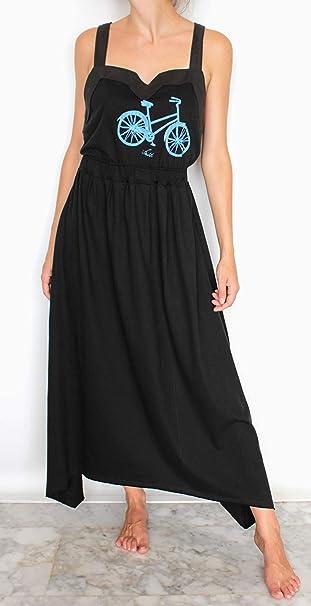 Bici Azul Talla S Vestido Negro Largo de algodón orgánico Pintura ...