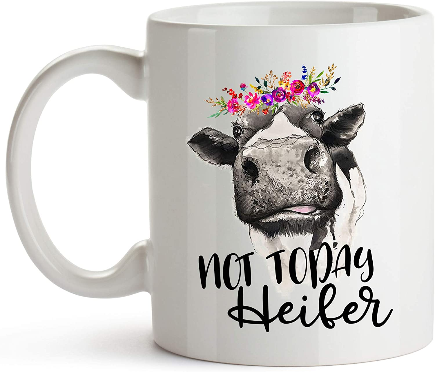 YouNique Designs Not Today Heifer Cow Mug, 11 Ounces, Cow Coffee Cup for Women, Farmer Mug for Cow Lovers
