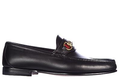 48c4fe3c7 Gucci Men's Leather Loafers Moccasins Cirano Lux Nastro Nylon Black ...