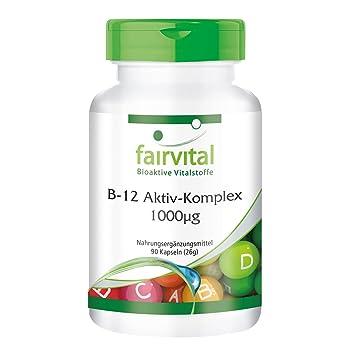 Complejo Activo de B12 1000µg - 90 Cápsulas - fairvital - suplemento dietético basado en la vitamina B12 natural que forma la metilcobalamina, ...