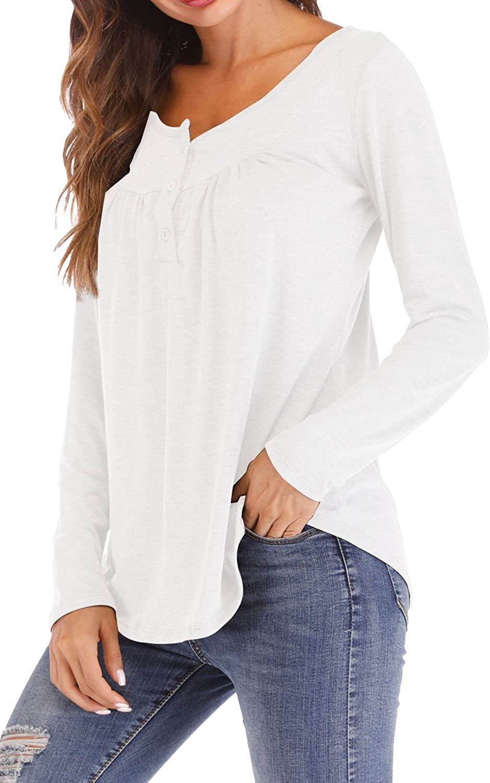 Chemise Plissee Mode Femmes Casual Tops T-Shirt L/âche Haut /à Manches Longues et Courte Basique Tee Shirt Blouse Col Rond D/écontract/ée Pull-Over Robe Automne Hiver Tunique Ete Sweatshirt Couleur Unie