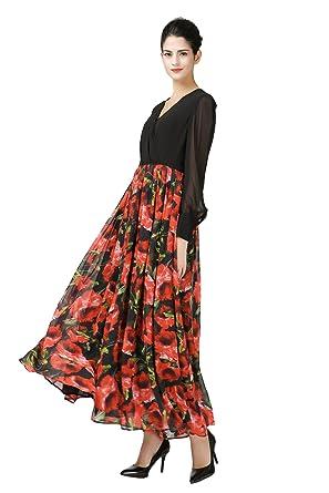 1be59f1fcb VOA Women s Black Top Rose Print Skirt Bottom Long Sleeve Silk Maxi ...