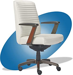 product image for La-Z-Boy Emerson Modern Executive Office Chair with Rich Wood Inlay, Ergonomic High-Back Lumbar Support, Bonded Leather, White