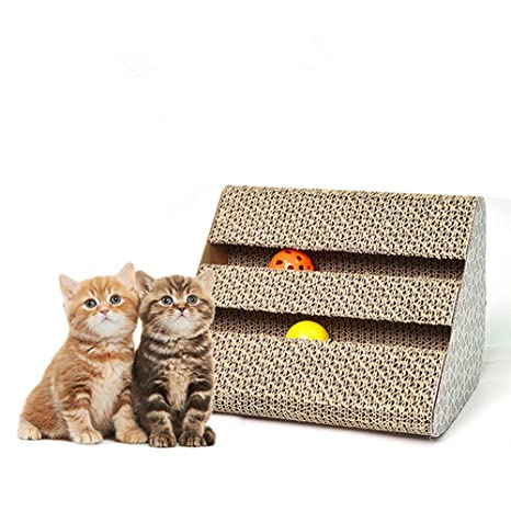 Owikar - Tabla de rascar para gatos con bolas de campana, papel ...