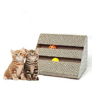Owikar Jouets pour Chat Griffoir chat Planche à Griffer avec Bell Balles de papier  ondulé Polyédrique 5720f5be0513