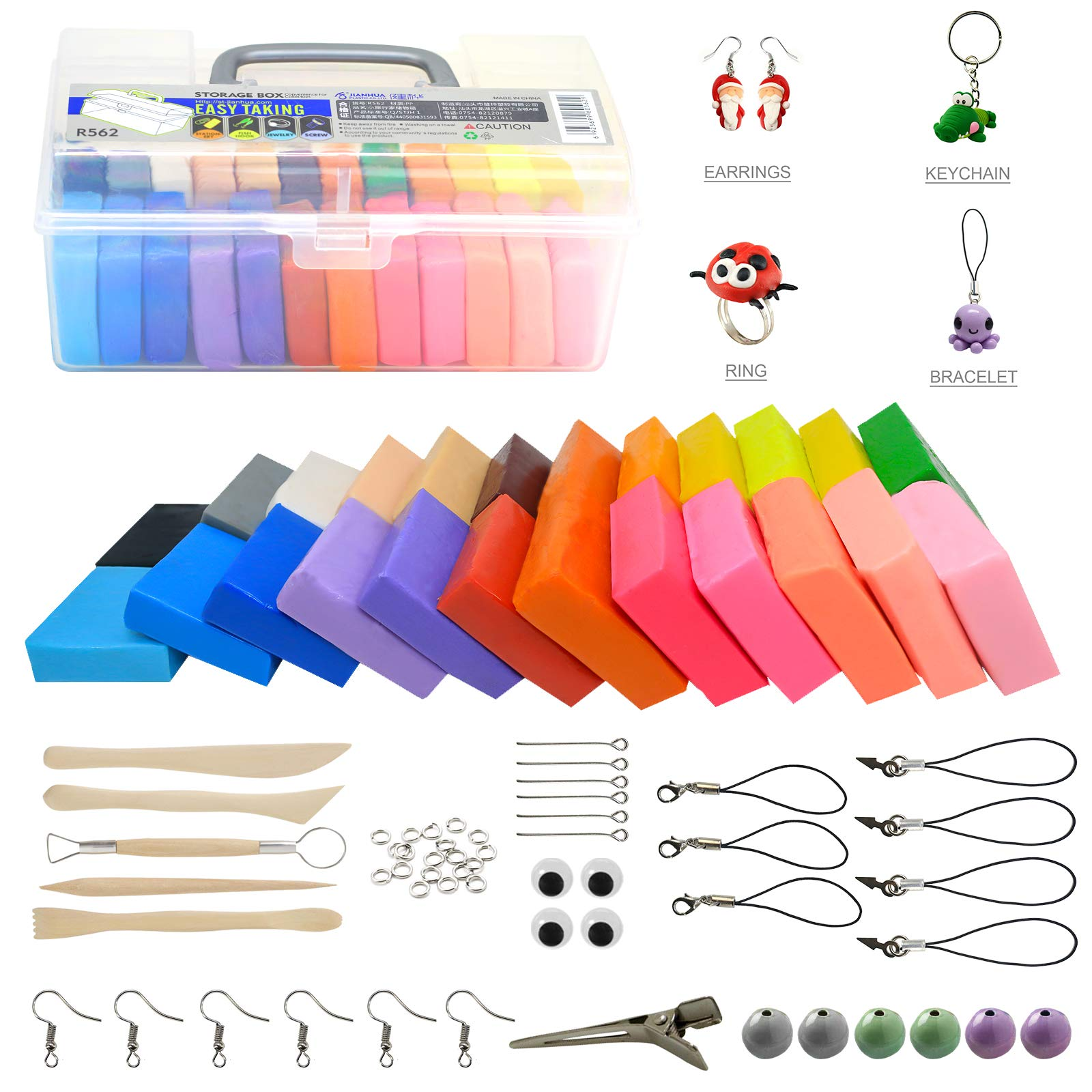 Polymer Clay Kit, Ultra Soft & Stretchable Baking Molding Clay- 24 Color Blocks with Bonus Tools, Accessories and Easy Storage Box - DIY Modeling Magic Clay Kit for Kids/Adults