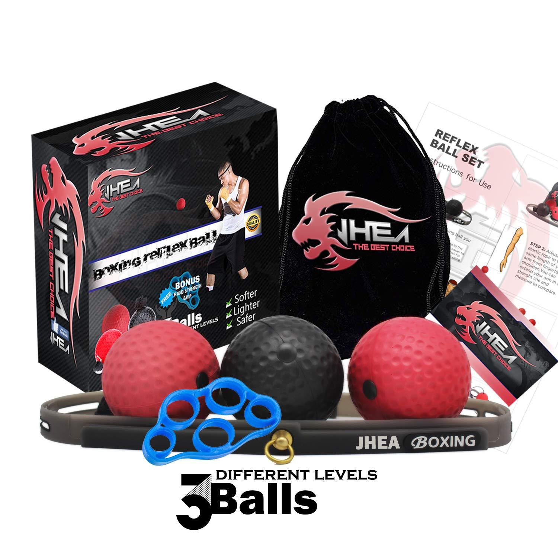 JHEA Boxing Reflex Ball,Reflex Speed Ball with 3 Difficulty Level Punching Ball,Premium Headband Ball,360-Degree Buckle…