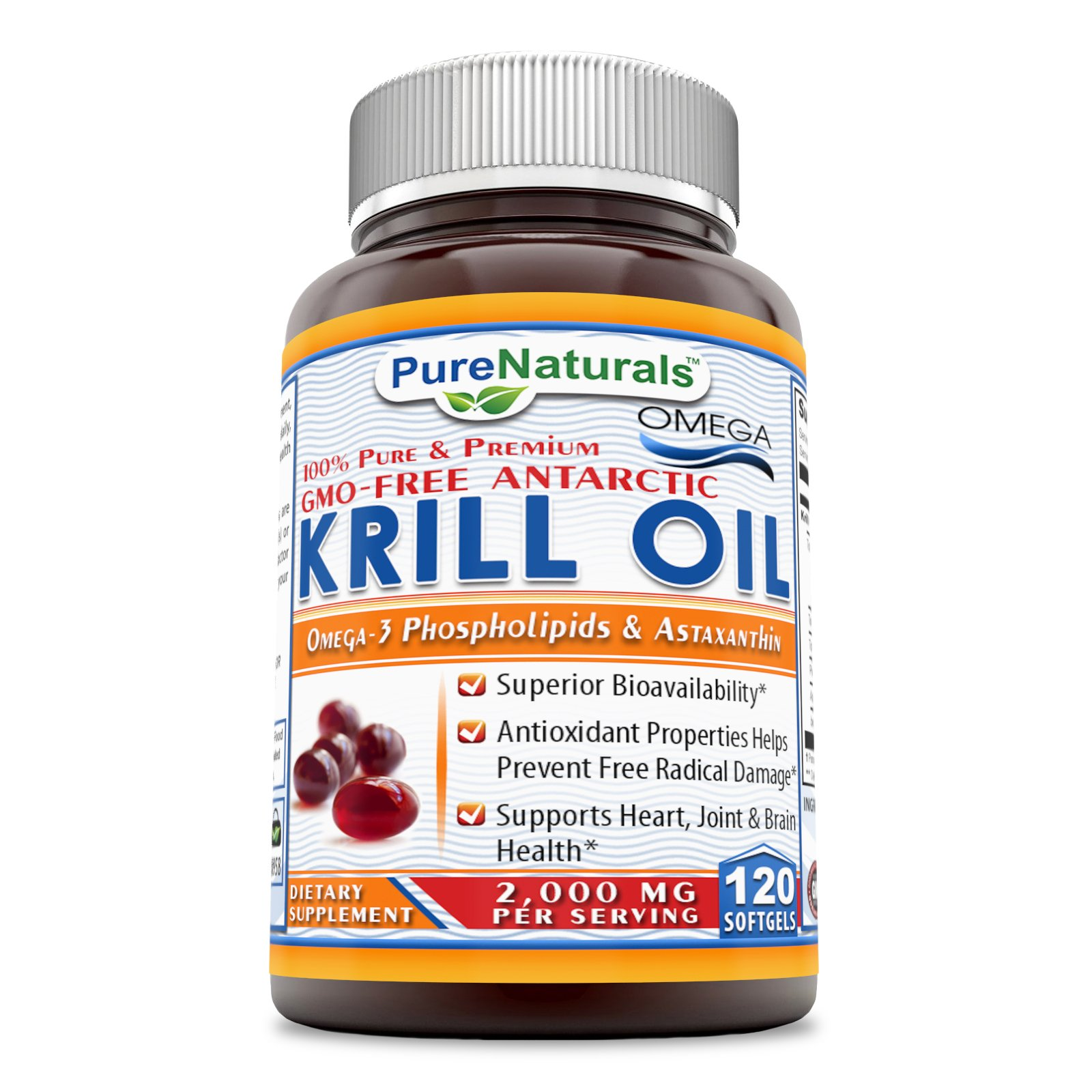 Pure Naturals Krill Oil Dietary Supplement - 2000 mg Per Serving - 240mg Omega 3 Fatty Acids with 120mg EPA & 80mg DHA Per Serving - Support Heart, Joint, Brain Health* (120 Count)
