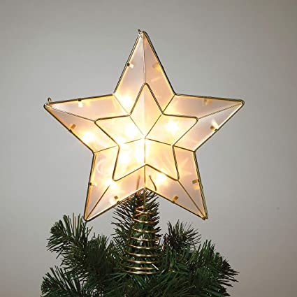 White And Gold Star Light Up Christmas Tree Topper With 10 Lights By