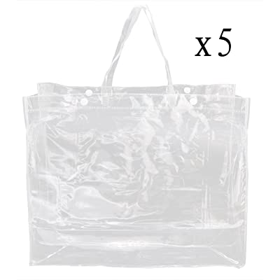 5 Pack Of Clear Tote Bags- 100% Clear PVC Large Beach Tote School Handbags With Button Closure