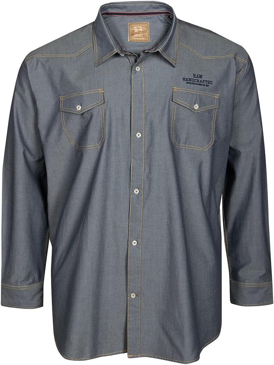 Redfield Camisa de Manga Larga en Vaquero Azul XXL, 2xl-8xl ...