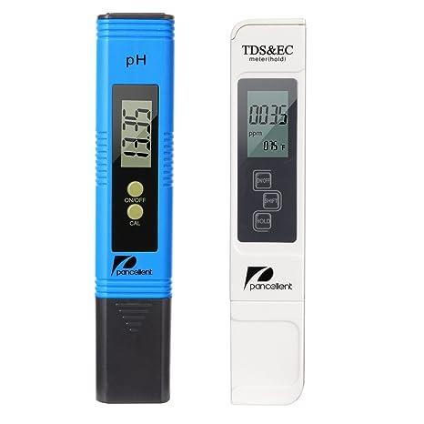 Medidor de prueba de calidad del agua Pancellent TDS pH EC Temperatura 4 en 1 conjunto (azul)