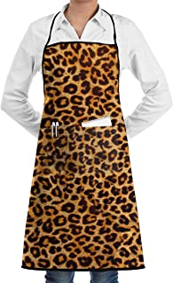 QIAOJIE Leopard Print Retro Aprons Kitchen Chef Bib - Professional for BBQ Baking Cooking for Men Women