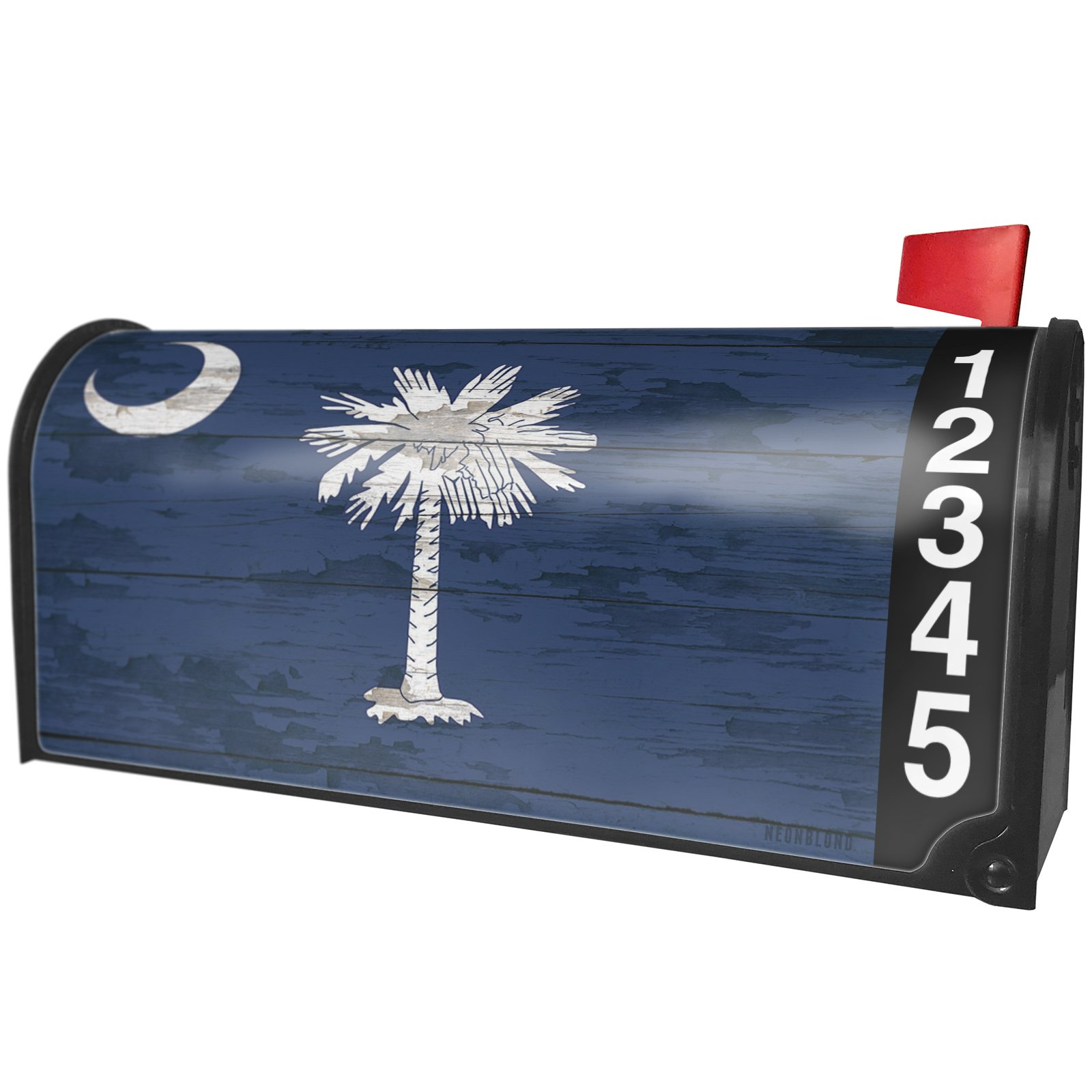 NEONBLOND Flag on Wood South Carolina Region: America (USA) Magnetic Mailbox Cover Custom Numbers