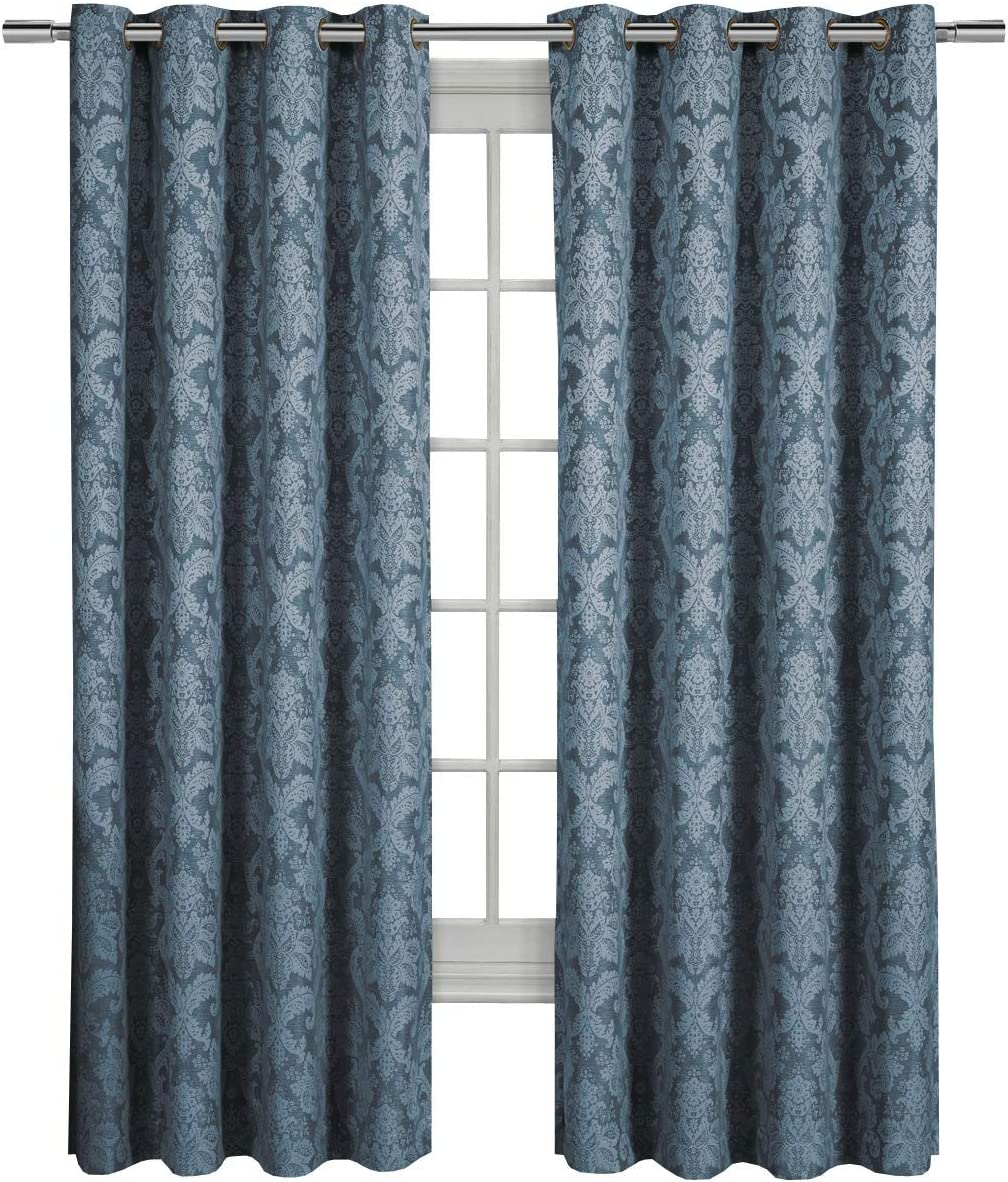 Blair Blue Top Grommet Jacquard Window Curtain Panel, Set of 2 Panels, 108×120 Inches Pair, by Royal Hotel