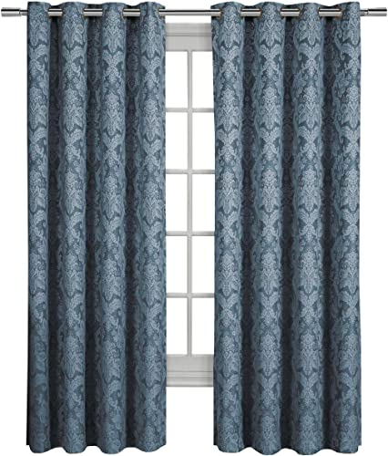 Blair Blue Top Grommet Jacquard Window Curtain Panel