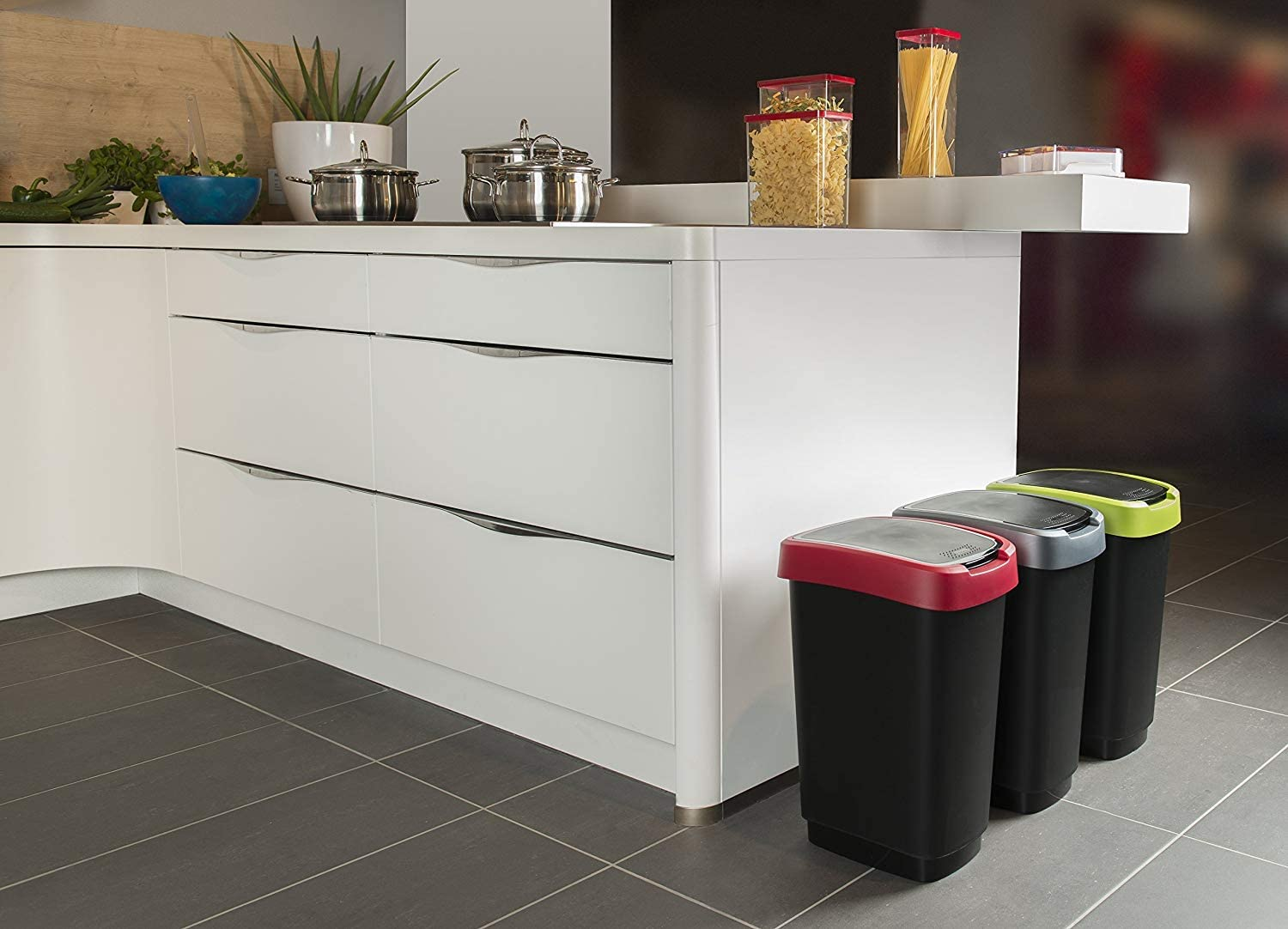 Plastic One Size 40,1 x 29,8 x 60,2 cm PP 50 litres Rotho Twist Waste bin 50l with lid Black Ruby Red