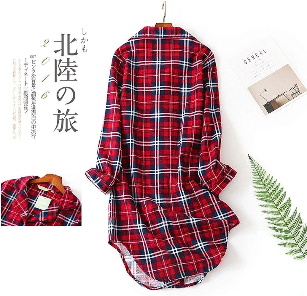 Ropa Mujer Camisones Pijama Mujer Algodon Invierno Manga Larga Ropa De Dormir Tallas Grandes Camison Botones Pijamas Clab64 Fr