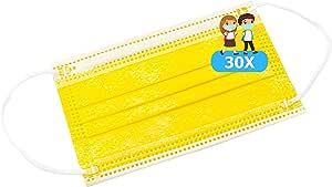 TBOC Mascarilla Higiénica Niños No Reutilizable - [Pack 30 Unidades] 3 Capas [Color Amarillo]