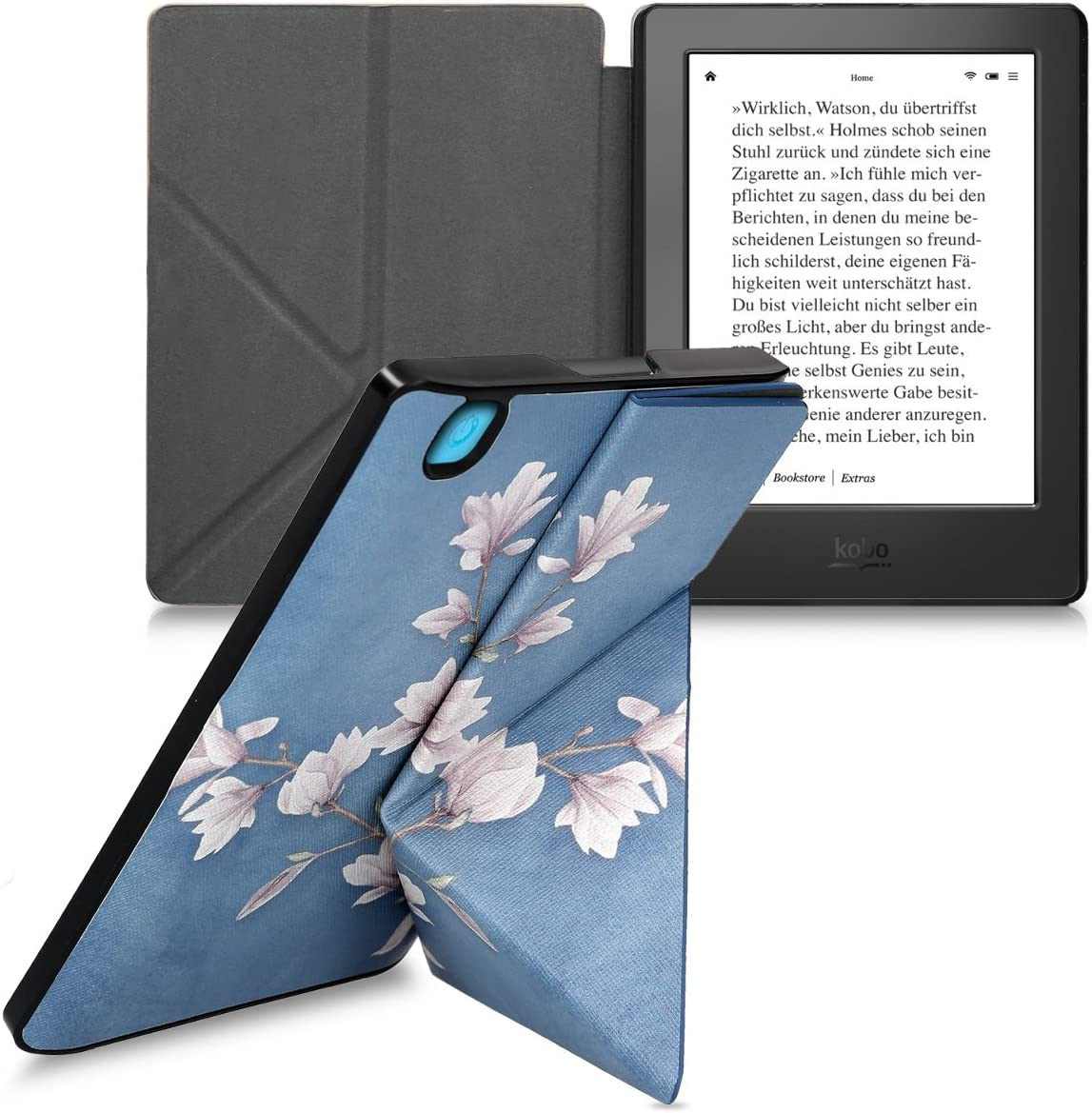 kwmobile Origami Case for Kobo Aura H2O Edition 2 Brown PU Leather//Faux Suede Cover with Magnet and Stand