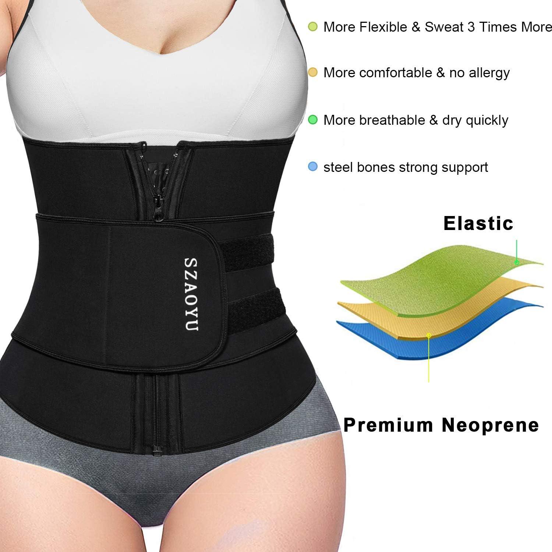 SZAOYU Neoprene Sauna Belt Sweat Waist Trainer Corset Trimmer Belt for Women Weight Loss Waist Cincher Shaper Slimmer