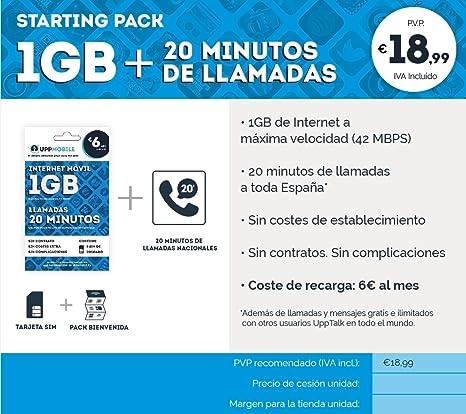 UppMobile - Pack de Bienvenida (1Gb + 20min) : Tarjeta SIM 1 GB + Llamadas 20 minutos a móvil: Amazon.es: Electrónica