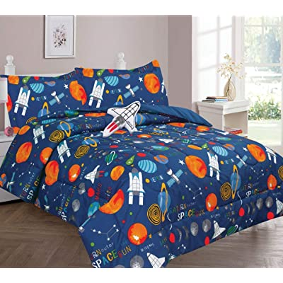 Golden Linens Multicolor Navy Blue Solar System Space Ships & Rockets Universe Galaxy Stars Full Size Comforter Set for Boys/Kids Bed in a Bag with Sheet Set & Decorative Toy Pillow # 8 Pcs Space: Home & Kitchen